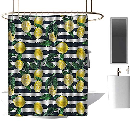 Qenuan Polyester Shower Curtain Modern,Refreshing Lemons on Horizontal Striped Background Exotic Artwork,Yellow Hunter Green Indigo,Eco-Friendly,Bathroom Curtain 72