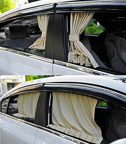 Qiilu 2 x 50s Cortina de la ventana del toldo del sol del coche cortina de la cortina del visera del cortina del toldo ajustable enrejado