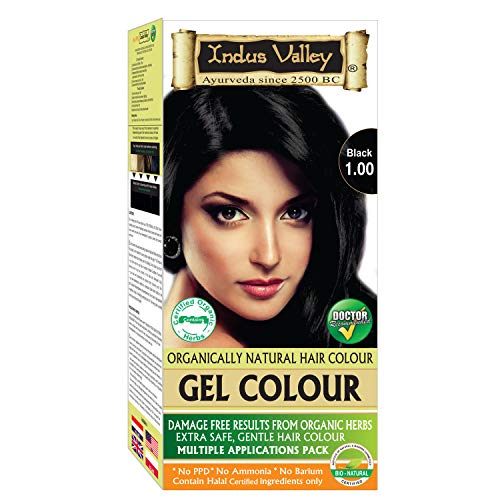 Indus Valley Organically Natural Permanent Gel Black 1.0 Hair Color For Long Lasting Effect on hairs ()