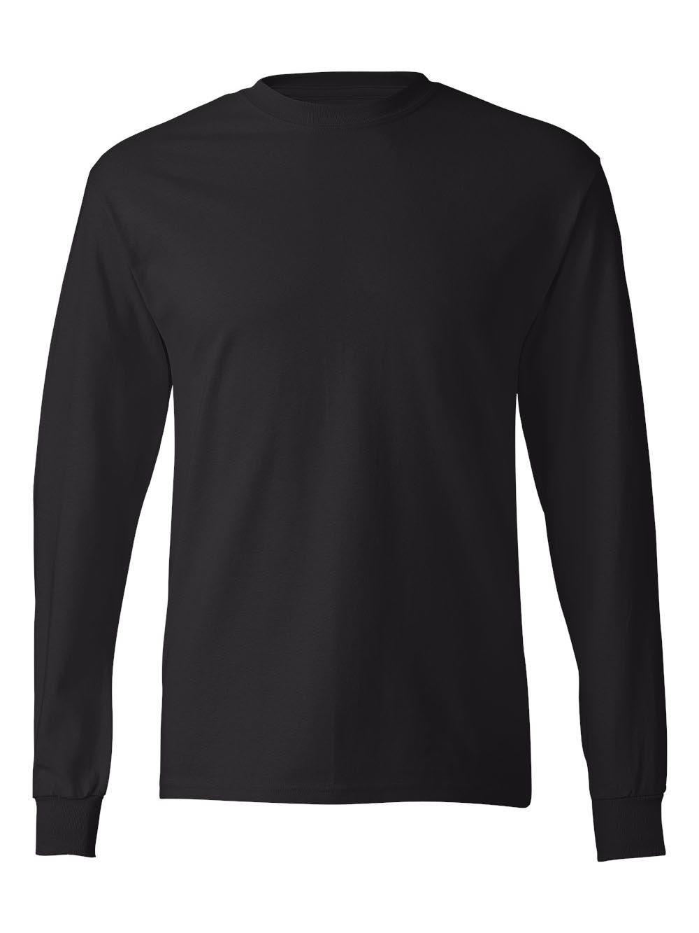 Hanes TAGLESS 6.1 Long Sleeve T-Shirt (Black, XXL)