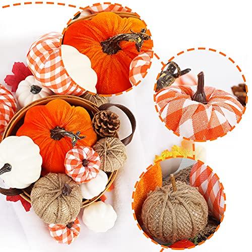 VGOODALL Künstliche Kürbisse Set, 12 Stücke Gefälschte Kürbisse Deko in verschiedenen Designs Weiß Orange für Halloween Erntedankfest Herbstdekoration