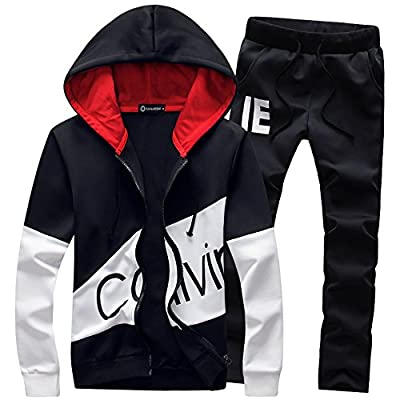 Manluo Men's Tracksuits Printing Sweatsuits 2 Pieces Casual Slim Fit Jogging Suits Sports