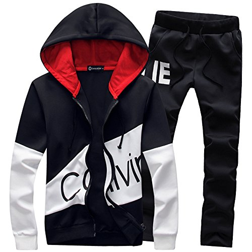 Manluo Men's Tracksuits Print Sweatsuits Slim Casual Jogging Suits Sports Hooded