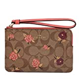 Coach Crossgrain Leather Corner Zip Wristlet Wallet (Khaki Pink Multi)