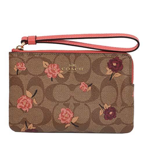 Coach Crossgrain Leather Corner Zip Wristlet Wallet (Khaki Pink Multi) ()