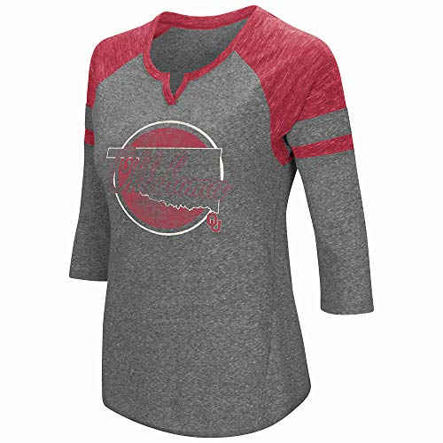- Colosseum Oklahoma Sooners NCAA Women's Par 3/4 Sleeve Tri-Blend Notch Neck Shirt