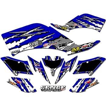 Shredder Blue Graphics Kit Senge Graphics kit compatible with Yamaha 2003-2008 YFZ 450 Steel Frame
