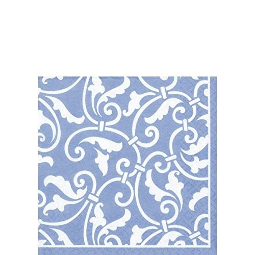 Party Ready Ornamental Scroll Beverage Napkins Tableware, Pastel Blue, Paper , 5