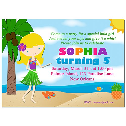 Luau Birthday Invitation Printable or Printed - You Pick Hair Style/Color and Skin Tone - My Sweet Hula - Summer Skin Tone Best Colors For