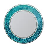 DecorShore 24-Inch Round Crackled Glass Mosaic Wall Mirror, Sapphire For Sale