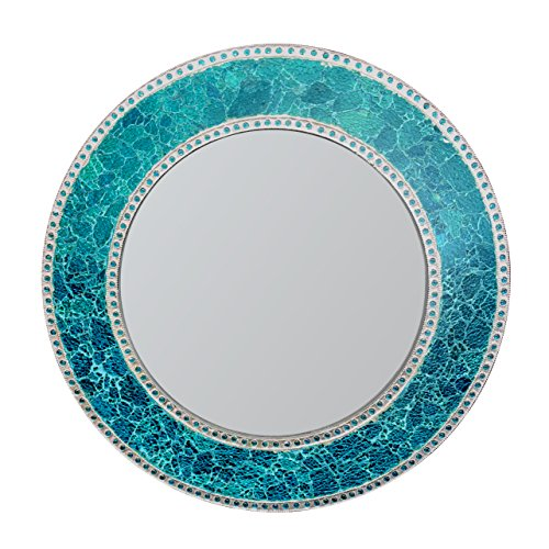 DecorShore 24-Inch Round Crackled Glass Mosaic Wall Mirror, -