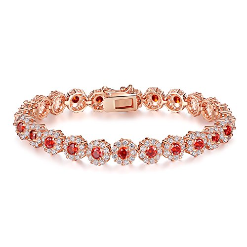 BAMOER Classic Luxury Rose Gold Plated Bracelet with Sparkling Red Cubic Zirconia Stones for Women Girls for Her 6.7 Inches ()