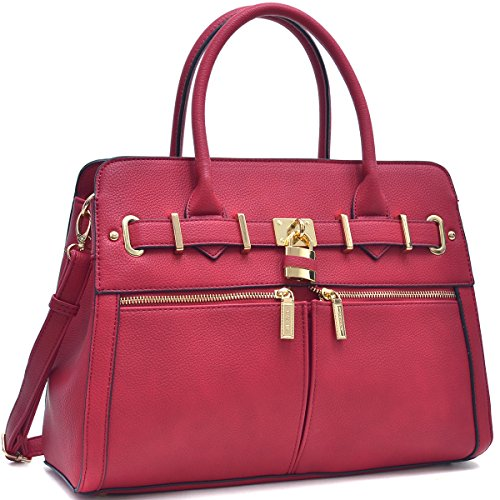 dasein-womens-designer-padlock-satchel-handbag-briefcase-double-zippered-front-pockets-with-strap