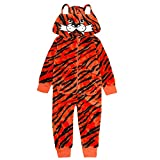 ONEZEE Boys Novelty Tiger Fleece Fancy Dress Fleece Jumpsuit All in One Costume 9-10