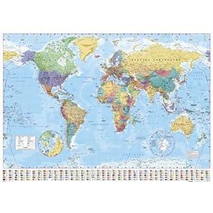 1art1 Empire 215833 – Mapamundi político (con Banderas, 91 x 61 cm)