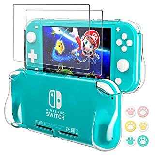 Hestia Goods Protective TPU Case for Nintendo Switch Lite, with 2-Pack Switch Lite Tempered Screen Protector and 6 Pcs Cult Thumb, TPU Grip Cover with Shock-Absorption and Anti-Scratch Design, Clear
