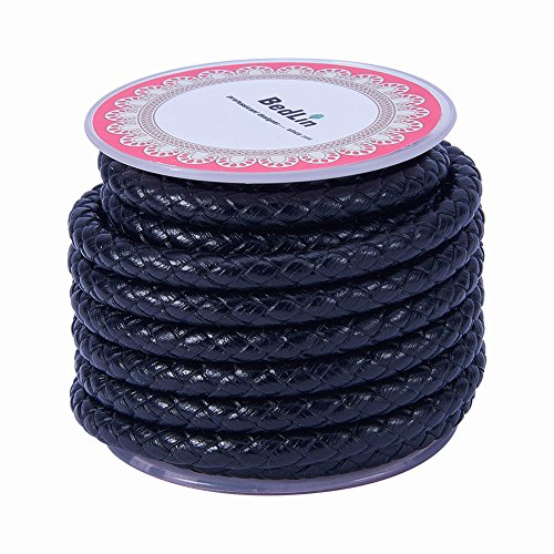 PandaHall 1 Roll 6mm Round Folded Bolo Fold Braided Leather Cords for Necklace Bracelet Jewelry 3.5m per Roll Black