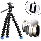 olloclip 4-in-1 Pocket-Sized Lens Kit (Gold/White) for iPhone 6/6 Plus with Magnetic Flexible Tripod and Fluid Movie Head - Capture Professional Video with Your Smartphone!