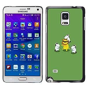FECELL CITY // Duro Aluminio Pegatina PC Caso decorativo Funda Carcasa de Protección para Samsung Galaxy Note 4 SM-N910 // Animal Cartoon Lion Green
