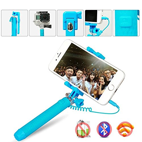 mini selfie stick greaty handheld stick monopod with adjustable phone holder mirror and wired. Black Bedroom Furniture Sets. Home Design Ideas