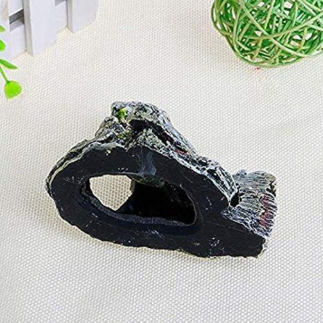 8,5 x 8,5 x 11,5 cm Gris decoraci/ón de Resina MSYOU Adornos para Acuario Paisaje roc/ío o Cueva pecera