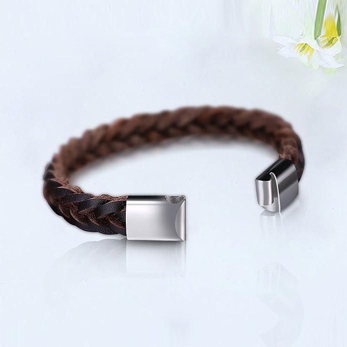 Homme Acier Inoxydable Bracelet Cuir Vintage KOLOVEADA Bracelet de l/'homme en Cuir V/éritable tress/é Bracelet Cuir Noir Pour Les Hommes Comme Cadeau Marron