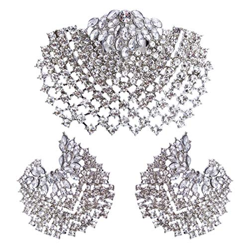 - Perfect house Rhinestone European and American Style Ring and Earrings Jewelry Set Platinum Color Flower Shape Clothes Match Female Fashion
