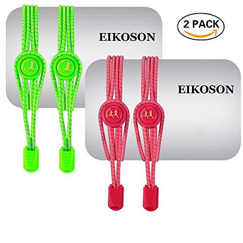 EIKOSON Elastic No Tie Shoelaces, Reflective Shoelace, (120cm 2 pairs) Sport LOGO, German Gold Paint print - Logo Shoelaces