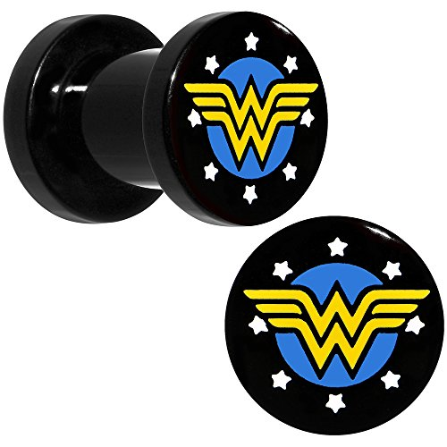 DC+Comics Products : Officially Licensed DC Comics Black Acrylic Wonder Woman Logo Screw Fit Plug Set 2 Gauge