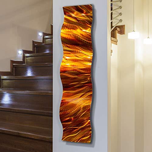 - Statements2000 Red, Gold, Orange Modern Metal Wall Art Accent - Amber Vortex Wave by Jon Allen - 46
