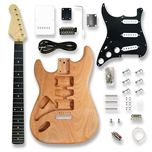 DIY Left-handed Electric Guitar Kits for ST Electric Guitar, okoume Body, Black Pickguard,