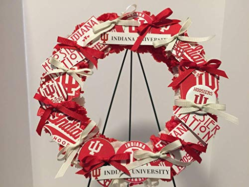 COLLEGE PRIDE - SPIRIT - IU - UNIVERSITY OF INDIANA 2 - HOOSIERS - DORM DECOR - DORM ROOM - COLLECTOR WREATH - RED & CREAM CARNATIONS]()