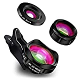 Phone Camera Lens, AiKEGlobal 3 in 1 Wide Angle Lens,15X Macro Lens,230°Fisheye Lens,Clip-on iPhone Lens Kit Compatible iPhone X/8/7/6s/6 Plus, Samsung and Smartphones