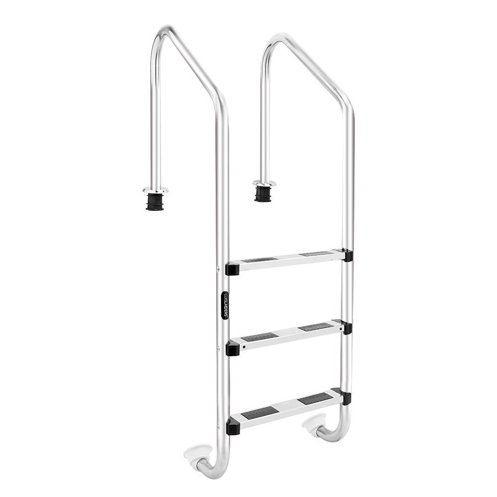 LUISLADDERS 3-Step Pool Ladder for In Ground Pools Heavy Duty Stainless  Steel Swimming Pool Step Ladder with Easy Mount Legs