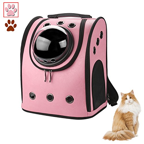 Anzone Pet Bag Carrier Bubble Backpack Pet Spacecraft Capsule Knapsack for Travel for Cat Puppy and Small Animals-PU Leather, Pink