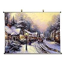 Village Christmas - Thomas Kinkade - Canvas Wall Scroll Poster (32x24 inches)