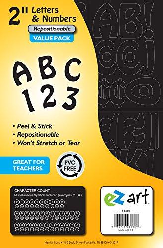 EZ Art Peel-and-Stick Letters and Numbers Bulk Value Pack for Signs and Presentations, 2-Inch Tall Repositionable Characters, Black, 395 Pieces (5508) (Self Sticking Letters)