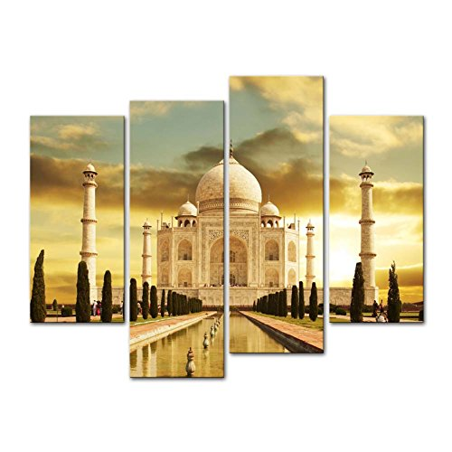 So Crazy Art - Canvas Print Wall Art Painting For Home Decor,White Marble Taj Mahal Palace In Agra India On Sunrise India Uttar Pradesh 4 Piece Panel Paintings Modern Giclee Stretched And Framed Artwork The Picture For Living Room Decoration,Landscape Pictures Photo Prints On Canvas