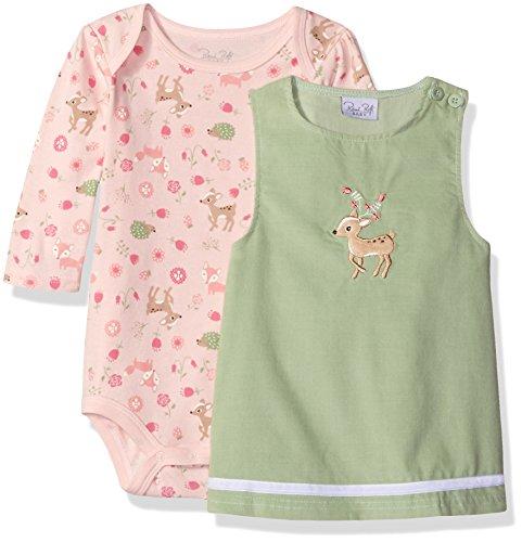 Rene Rofe Baby Baby Girls' 2 Piece Corduroy Jumper Set with Lap Shoulder Longsleeve Bodysuit, Pretty Deer Pistachio, 0-3 Months