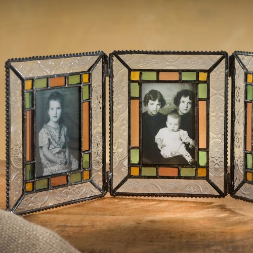 Vanity Triple Dresser (J Devlin Pic 137-3 Triple Photo Stained Glass Picture Frame Holds 3 2x3 Photos Clear Vintage Sage Green Rose)