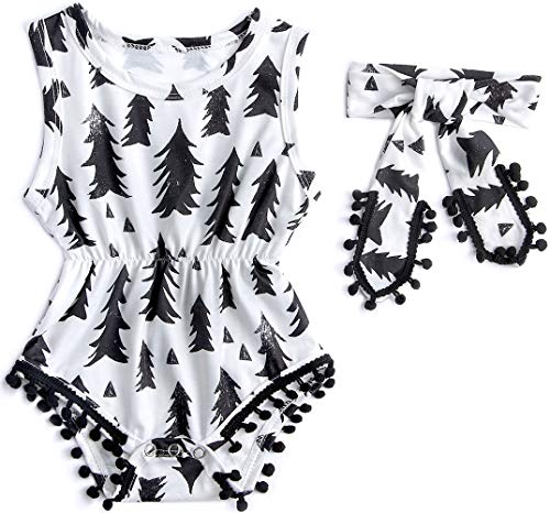 Leapparel Baby Girl Short Sleeve Romper Button White and Black Jumpsuit Floral Playsuit Printing Rompers for 3-6 Months Kids Small]()
