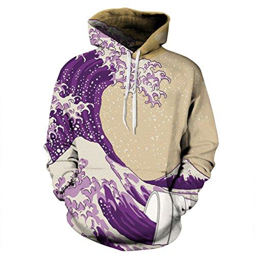 Unisex Realistic Wave Printed Hip Hop Street Style Hip Hop Sweatshirt Pullover Hoodie for Men Women ()