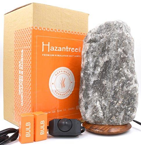 Hazantree Chenab Caviar Grey Himalayan Salt Lamp Large (11-16 lbs)- The Authentic Rare Gray Himalayan Salt Rock Lamp with Dimmer Switch- Made in Pakistan