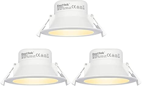 Lamparas Plafones Focos LED Empotrables de Techo Downlights LED 10W Luz Calida 3000K IP44 AC100~240V Agujero del Techo Ø90-105mm Pack de 3 de Enuotek: Amazon.es: Iluminación