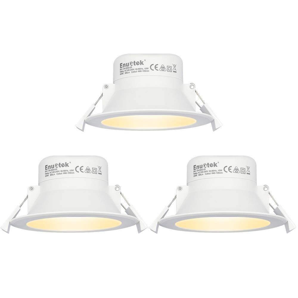 10w led recessed downlights recessed ceiling lights 3000k warm white lighting cut φ90 105mm ac100240v ip44 dampproof 3 pack by enuotek