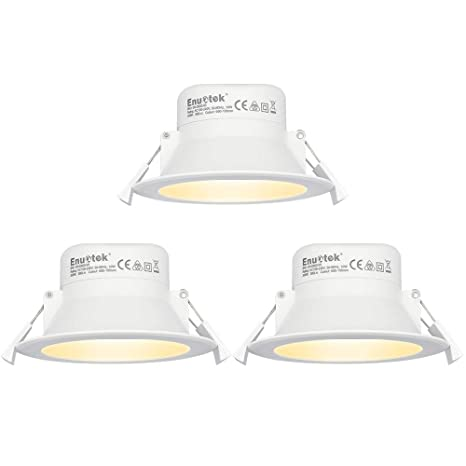 Lamparas Plafones Focos LED Empotrables de Techo Downlights LED 10W Luz Calida 3000K IP44 AC100~240V Agujero del Techo Ø90-105mm Pack de 3 de Enuotek