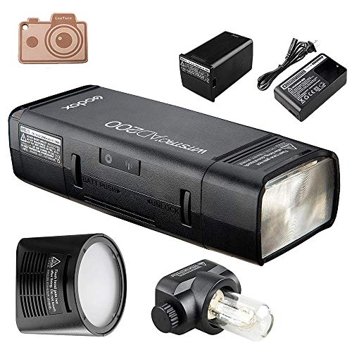 - Godox AD200 Pocket Flash and H200R Ring Flash Head Set, 200Ws 2.4G TTL Strobe Flash 1/8000s HSS Cordless Monolight with 2900mAh Lithium Battery Bare Bulb