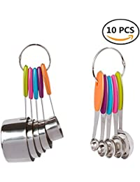 Favor 10-Piece Stainless Steel Measuring Spoons/Cups Set-FUNJIA- Stackable Tablespoons Measuring Set for Dry and Liquid... compare