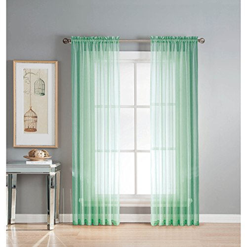Window Elements Diamond Sheer Voile Extra Wide 56 x 95 in. Rod Pocket Curtain Panel, Aqua (Window Covering Ideas)