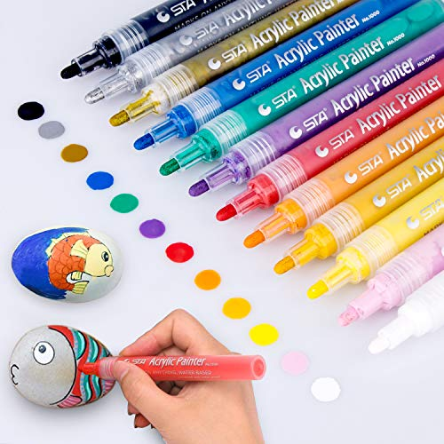 Acrylic Paint Marker Pens, Morfone Set of 12 Colors Markers Water Based Paint Pen for Rock Painting, Canvas, Photo Album, DIY Craft, School Project, Glass,